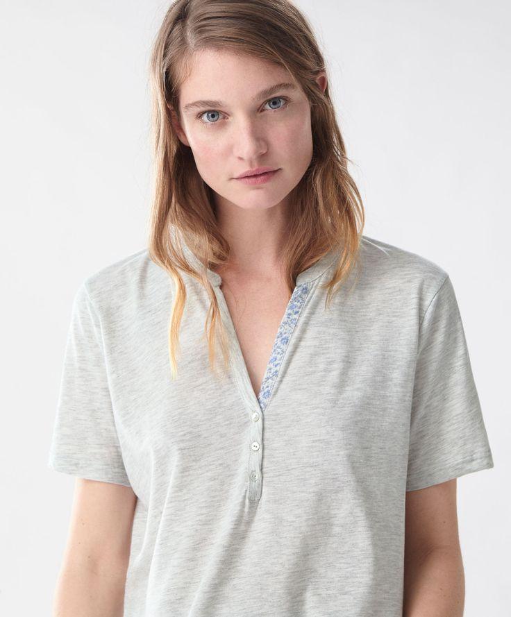 Short T-shirt with a floral ice border - Top Half - Pyjamas - SALE | Oysho