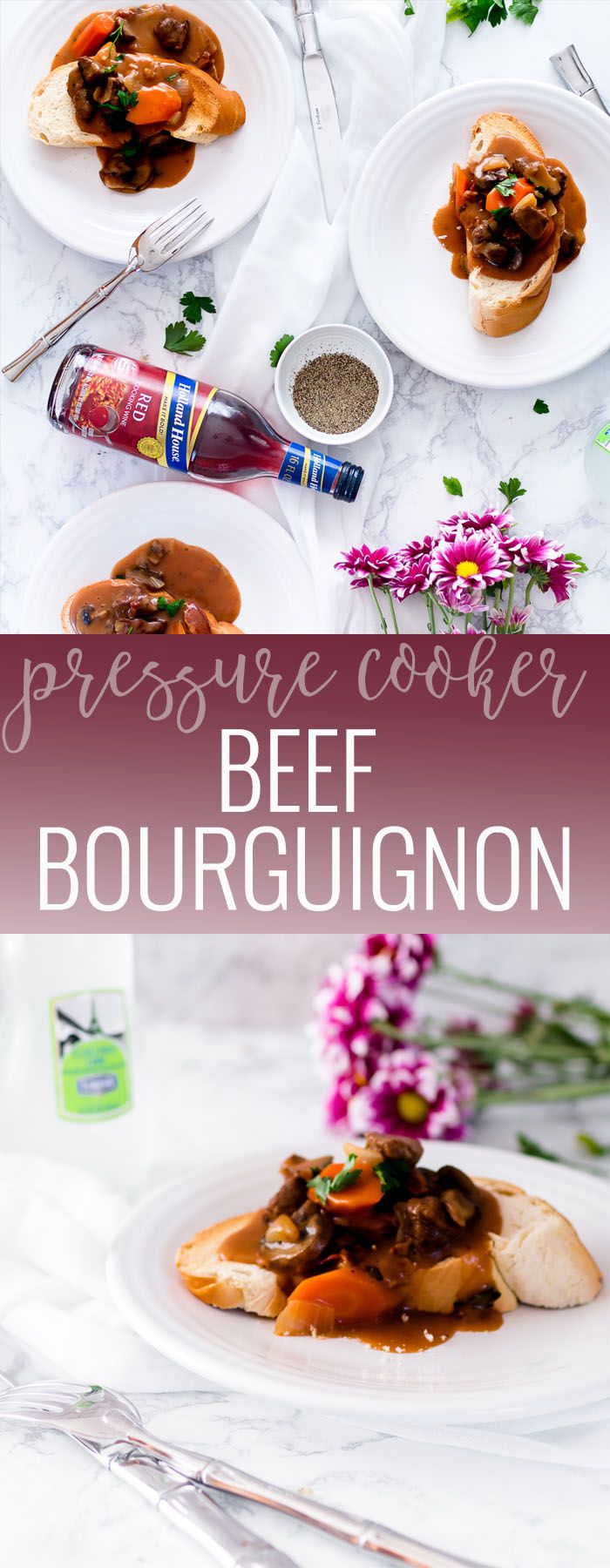 Pressure Cooker Beef Bourguignon using Holland House Red Cooking Wine #ad | homemade beef bourguignon | how to make beef bourguignon | easy beef bourguignon | homemade beed recipes | easy dinner recipes | slow cooker dinner recipes || Oh So Delicioso #beefbourguignon #pressurecooker #instantpotrecipe