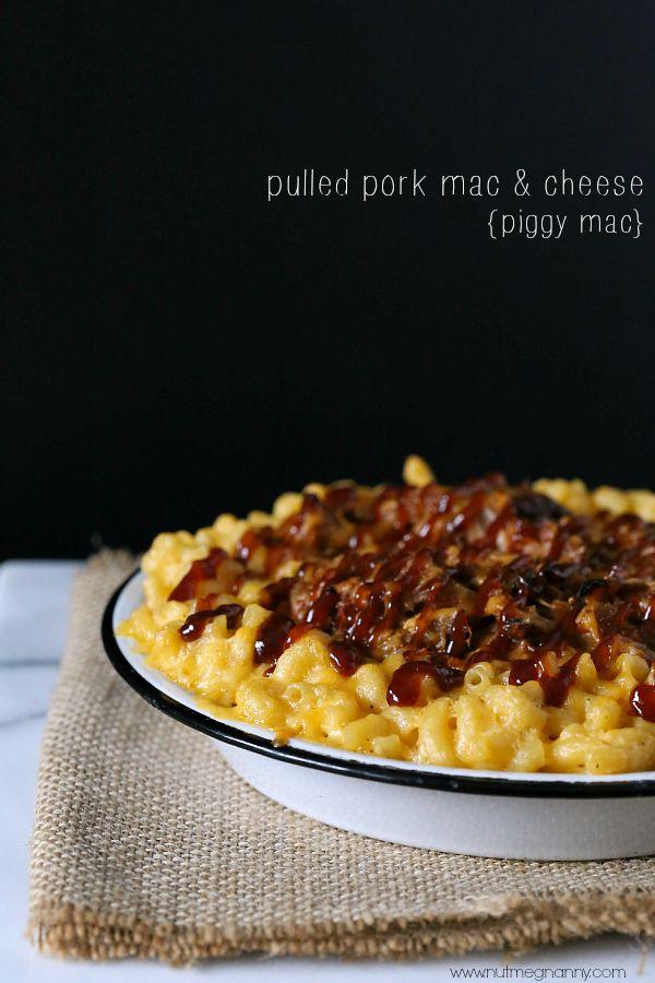 Pulled Pork Mac and Cheese {Piggy Mac} by Nutmeg Nanny #maccheesemania