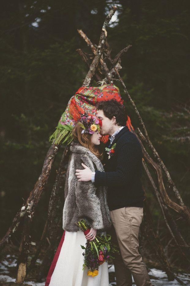 Un mariage colore sous une yourte en hiver - La mariee aux pieds nus