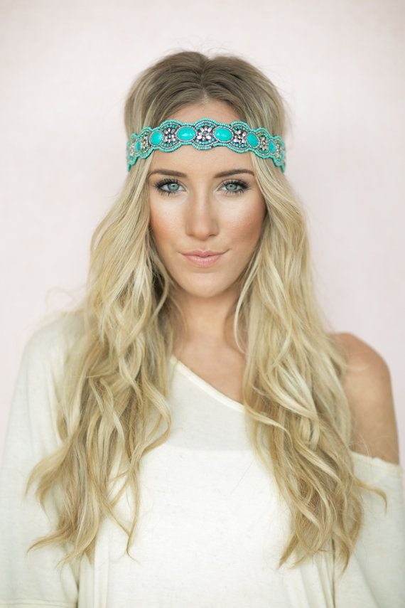 Turquoise Beaded Headband, Bohemian Hair Bands, Stretchy, Music Festival, Cute Headbands, Indian Aqua Stone Headbands (HB-172)