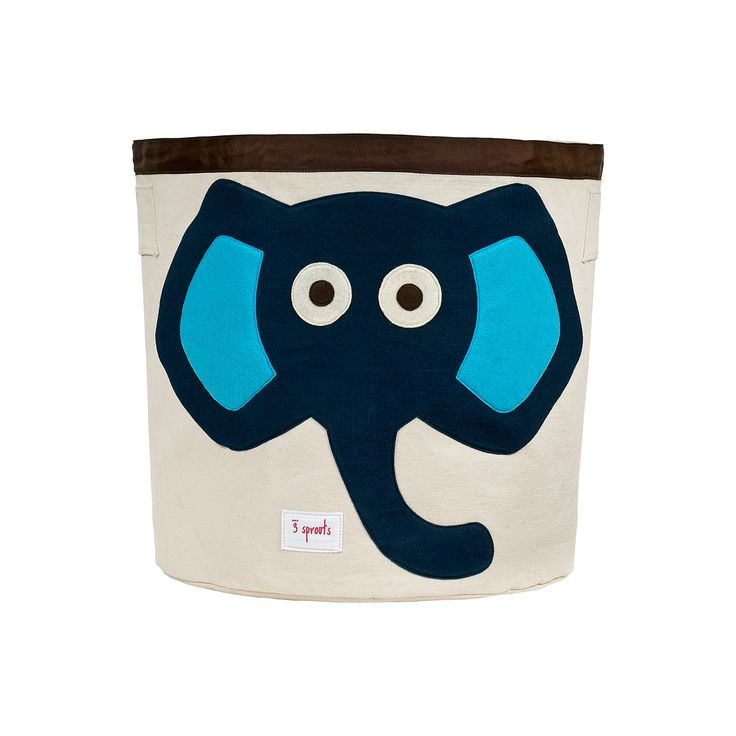 3 Sprouts Canvas Extra Large Round Storage Bin - Elephant,