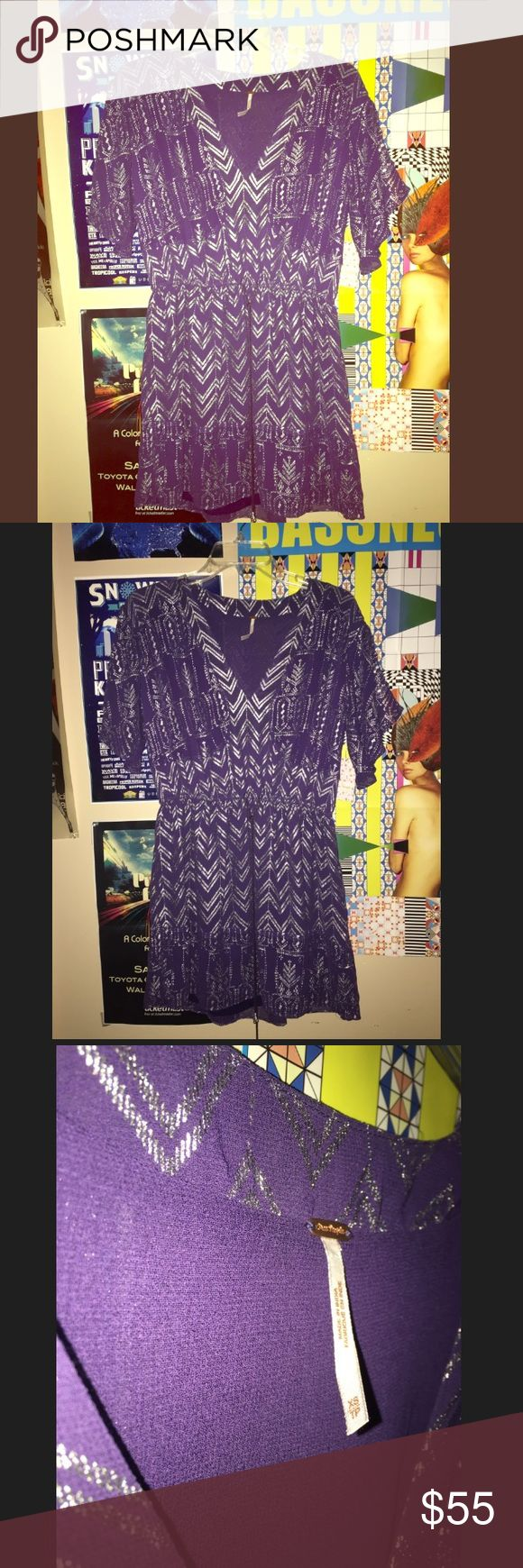 NWT Free people purple & silver summer dress free people flowy summer dress with a tie waist. Size xs. Brand new, never worn. With tags! Free People Dresses Mini