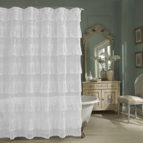 Beautiful Priscilla Shower Curtains Part - 4: White Priscilla Layered Ruffled Lace Shower Curtain