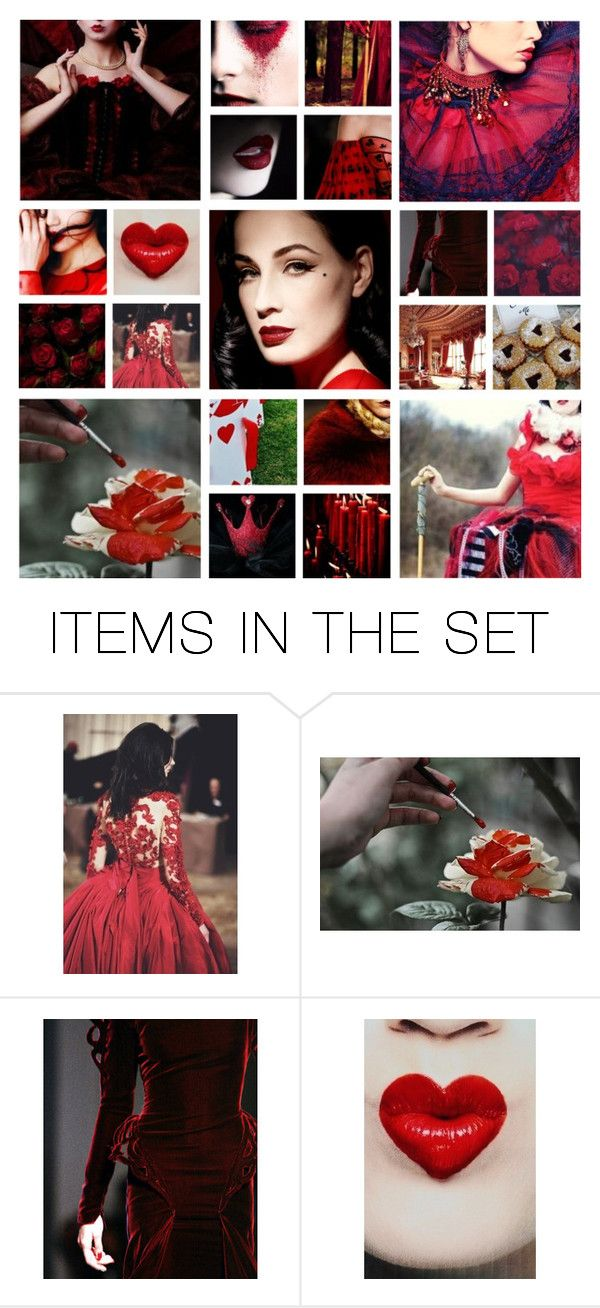 """Someone will lose their head!"" by sugarpixielh ❤ liked on Polyvore featuring art, disney, dreamcast, DitaVonTeese, DisneyVillians and QueenOfHearts"