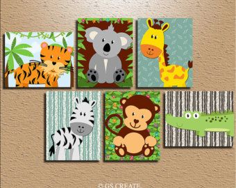 BOY Animal Wall Art Boy Animal Nursery Jungle Safari