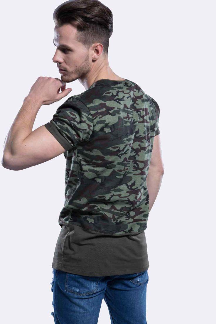 T-shirt Militaire de camouflage Classic. Ce t-shirt complètera à merveille votre Look rebelle dans la ville. La couleur est résistante et ne se dégrade pas.