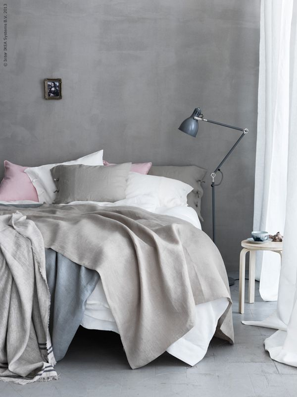 taupe walls, aina white curtains