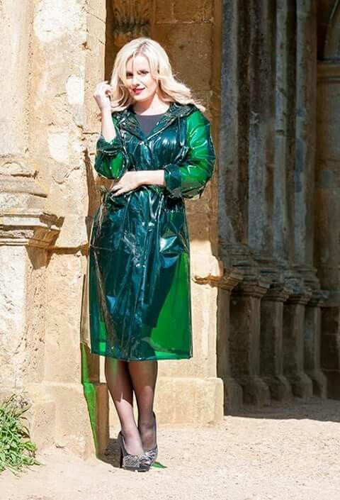 Green glass clear raincoat