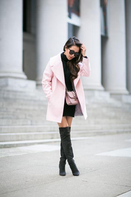San Francisco :: Rose coat & Turtleneck sweater dress | Wendy's Lookbook