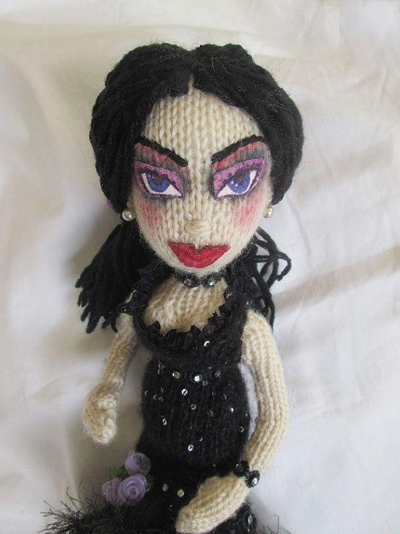 Knitted Doll. Mortisha Adams inspired Knit Doll.  by JoLArtsDecor
