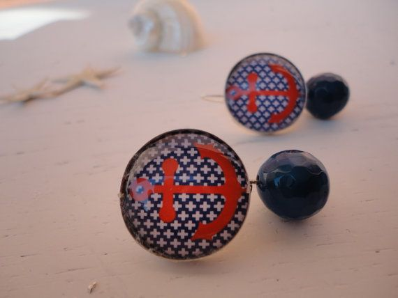 orecchini i love sicilian sea # cabochon vetro e argento # nautical - navy style  # stile marinaro # earrings