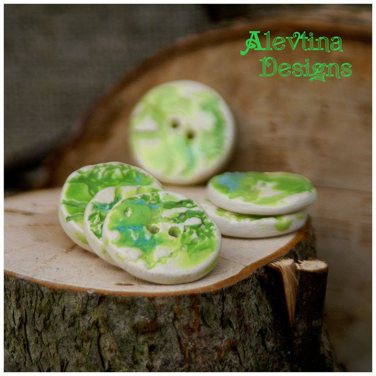 #my_ceramics #ceramic_button #lace_design #green