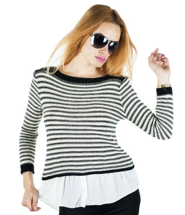 Pulover Dama Shirt Style  Pulover dama ce cade frumos pe corp. Model inspirat, modern, ce poate fi purtat cu usurinta in sezonul rece. Design cool, ce imbina perfect doua material si ii confera un plus de stil.  Detaliu - insertie fina de fir lame in tesatura.     Lungime totala fata: 58cm  Lungime totala spate: 66cm  Latime talie: 36cm  Compozitie: 95%Acryl, 5%Elasten