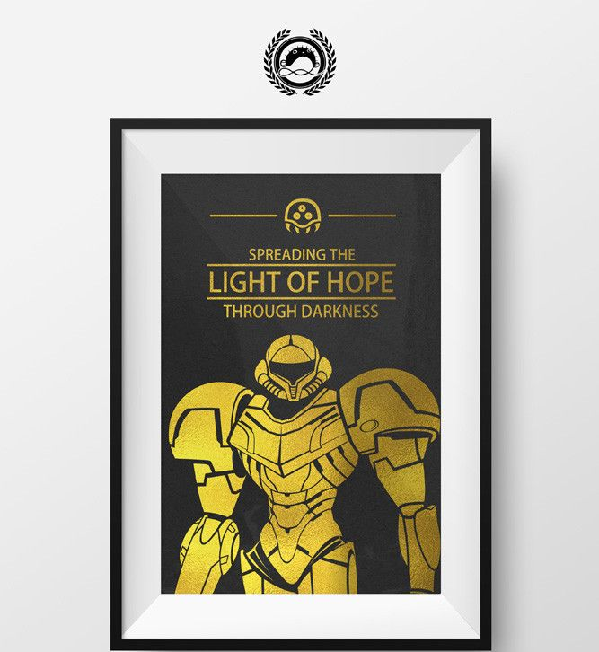 "- Metroid - Gold Foil - 12"" x 18"" - Foiled Art is reflective foil that gives the art a metal look - Frame Not Included"