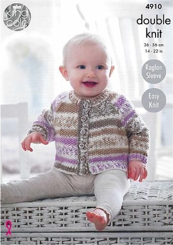 9ee12371ea01 Moss Stitch Baby Raglan Cardigans and Sweater in King Cole Cherished ...