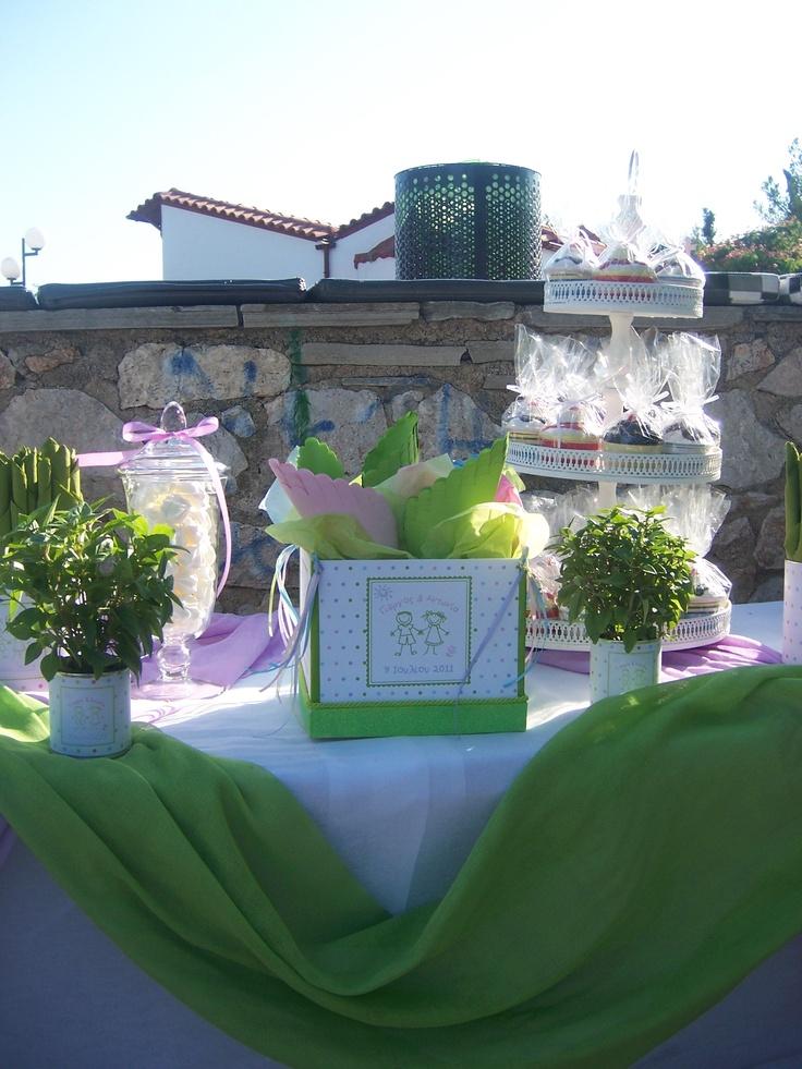 Διακόσμηση Βάπτισης στο τραπέζι των γλυκών.