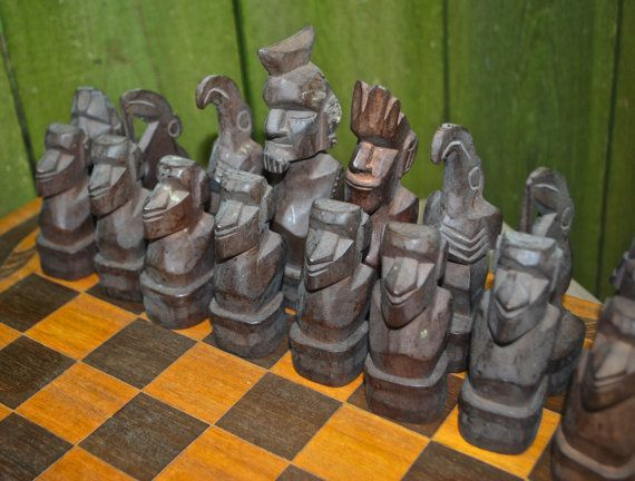 vintage chess set 1950s tribal wood hand-carved chess от mkmack