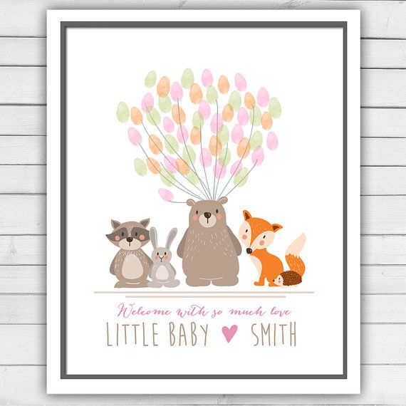 Woodland Baby shower guestbook - thumbprint guest book - baby shower fingerprint - baby shower thumbprint - Woodland baby shower guestbook