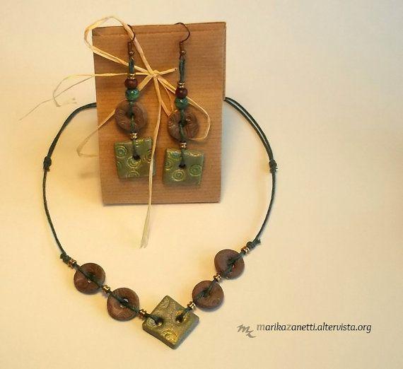 orecchini con collana etnici handmade limited di LaBottegadimarika