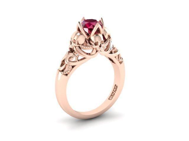 Secret Skull Engagement Ring-UDINC0533