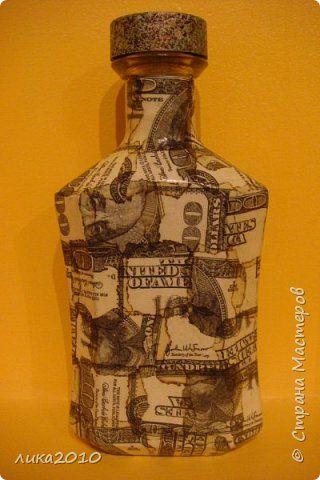 Декор предметов 23 февраля День рождения Декупаж Мужские бутылки Салфетки фото 8