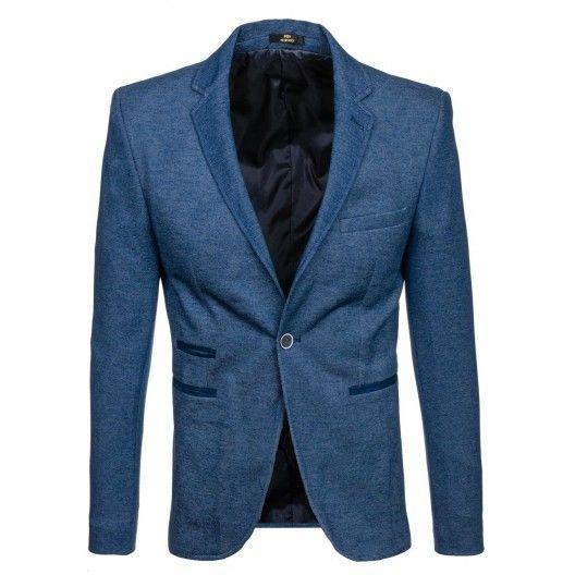 Svetlo modré pánske sako s ukrytými vreckami - fashionday.eu