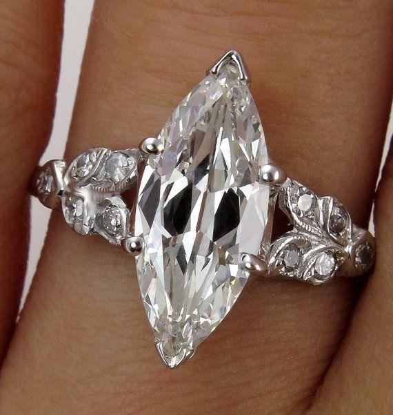 Art Deco Vintage GIA 2.08ct Old European Marquise Cut Diamond Engagement PLATINUM Ring