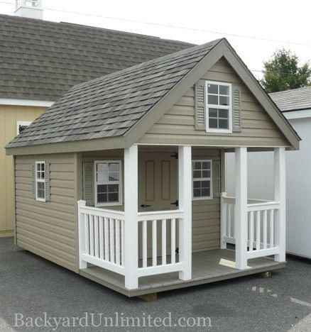 chalet style playhouse with vinyl siding httpwwwbackyardunlimitedcom