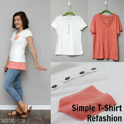 Short T-Shirt Refashion | 2 old shirts equal 1 new stylish top with this sewing tutorial!