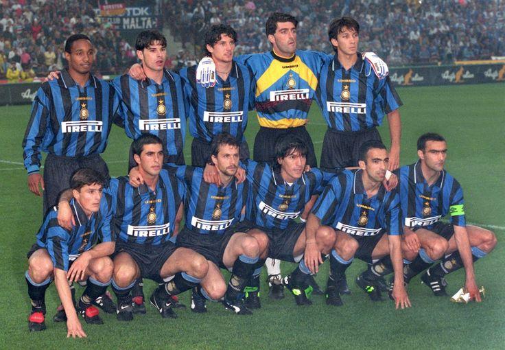 Inter to face Schalke in the return leg of the 1997 UEFA Cup final: Paul Ince, Ciriaco Sforza, Fabio Galante, Gianluca Pagliuca, Massimo Paganin; Javier Zanetti, Salvatore Fresi, Maurizio Ganz, Ivan Zamorano, Youri Djorkaeff, Giuseppe Bergomi.
