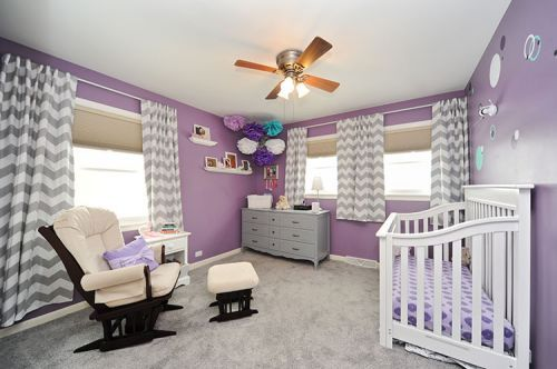 purple, gray and teal nursery