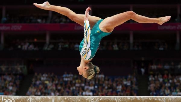 Ashleigh Brennan of Australia competes on the beam in the Artistic Gymnastics Women's Team qualification on Day 2 of the London 2012 Olympic Games at North Greenwich Arena on July 29, 2012 in London, England