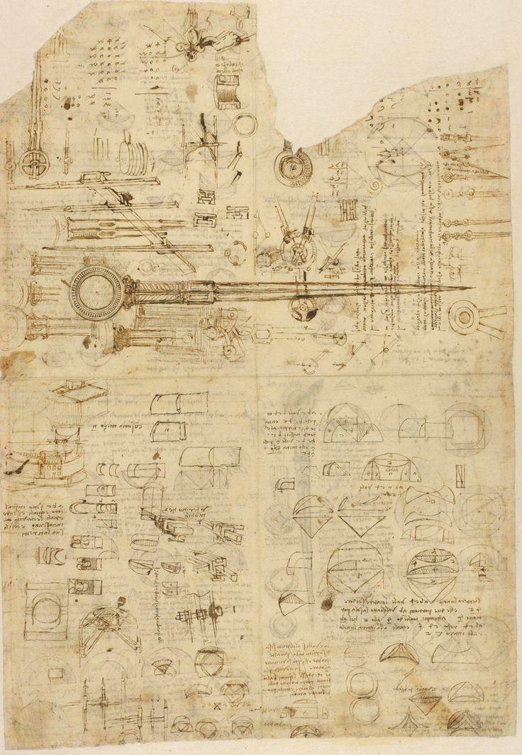 Leonardo da Vinci. Studi di strumenti con altre annotazioni.