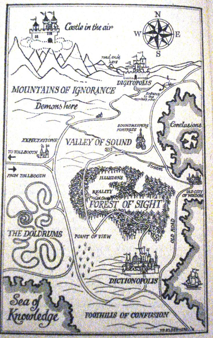 Partial map of The Phantom Tollbooth. By Norton Juster and illustrated by Jules Feiffer.