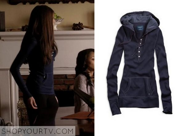 Elena Gilbert (Nina Dobrev) wears this navy hoodie in this episode of The Vampire Diaries. It is the AE Waffle Hoodie. Sold Out.