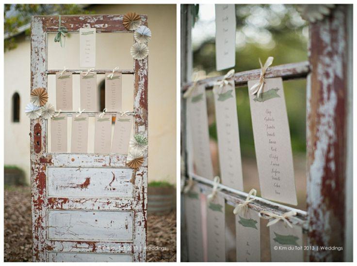 DYLAN & NATALIE | Rustic Table Seating #tableseating #rustic #wedding #door #pinwheels