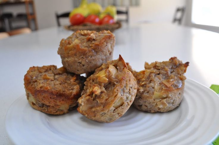 Flourless Oatmeal Apple Muffins. A delicious, gluten free snack or breakfast idea!