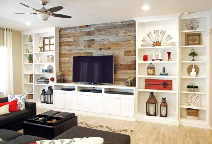 White Entertainment Center with Shiplap Backing