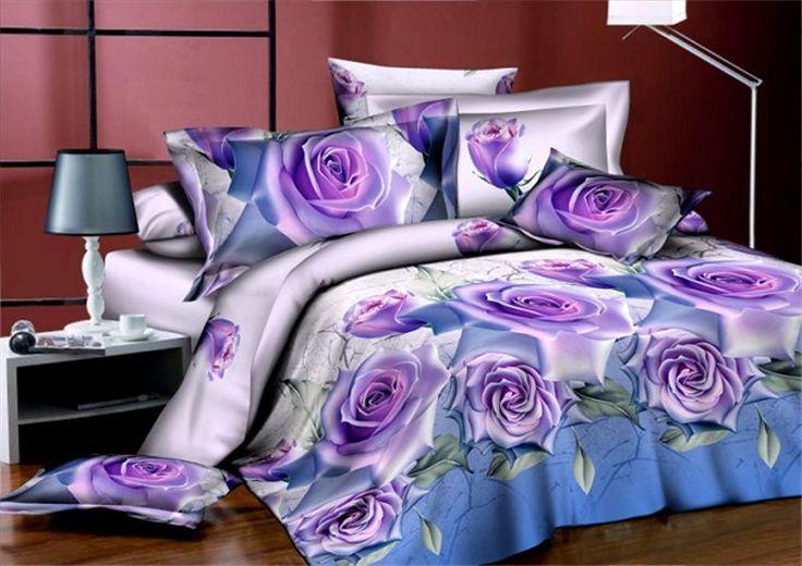 Hot! Reactive cama 3d impresso definir conjunto de cama 3d lençóis de algodão conjunto de cama king size/roupas de cama capa de edredão, rosa vermelha padrão em Conjuntos de cama de Home & Garden no AliExpress.com | Alibaba Group