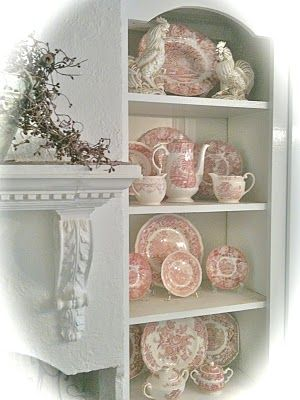 I love my two plates I have like these . . .would love to have more: Cottages Style, Decor Ideas, Decor Style, French Country Cottages, Chic French Country, Red Transferwar, Teas Sets, Red Toile Dishes, Vintage Cupboards