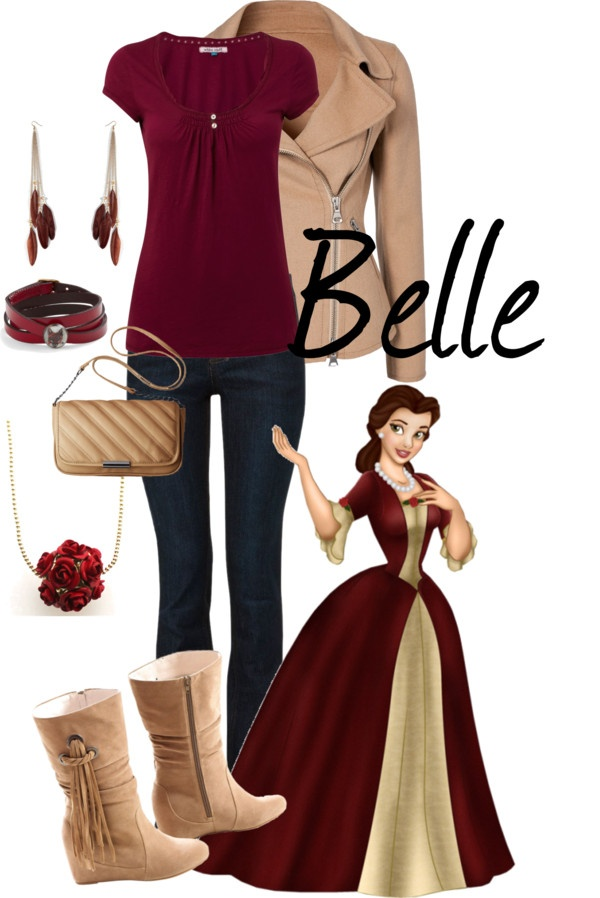 Nice color palette! I love the neutral moto-jacket with the burgundy top....not entirely sure when Belle dressed like this, though