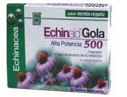Echinaid gola masticable  Echinaid Gola menta-Regaliz    Producto base de extractos de Equinacea con regaliz y  aroma de menta. NGREDIENTES Activos por Tableta  • Equinácea (Echinácea purpúrea)  planta extr. seco 4:1 50 mg.  • Equinácea (Echinácea angustifolia)  raiz extr. seco tit. 4% equinacósidos 50 mg.  • Regaliz (Glycyrrhiza glabra) raiz  extr. seco tit. 19% ac. glicirricínico 45 mg.  • Excipientes
