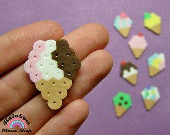 8pc ICE CREAM CONES Magnet Set // Single Scoop Sugar Cone // Pastel Kawaii Food Summer Dessert // Perler Hama Beads