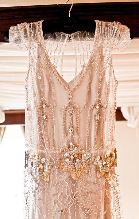 Jenny Packham Vintage Inspired Wedding Dress with Gold Detail