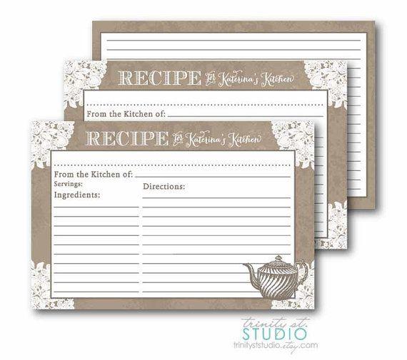 Recipe Card for Kitchen Bridal Shower - Vintage Lace Tea -  PRINTABLE DIY Digital on Etsy, $13.60 AUD