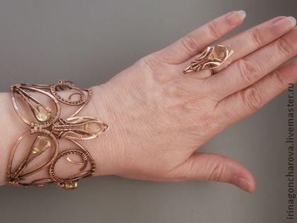 Autumn leaf copper bracelet - brown, yellow, leaf, bracelet, copper bracelet