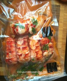 Lobster poached in sous vide bag