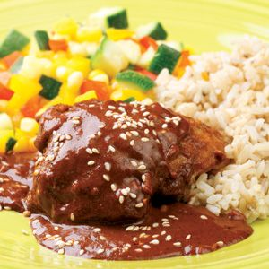 Chicken with Quick Mole Sauce - this was delicious! Added dried pasilla and ancho chiles and lime juice
