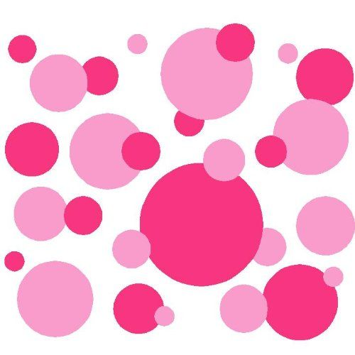 Set of 130 Pink and Dark Pink Polka Dots Circles Wall Decor Graphic Vinyl Lettering Mural Decal Stickers Kit Peel and Stick Appliques - Amaz...